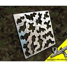 Las kamuflaż szablon szablon wyciek Spray płyta dla 1/35 1/100 Gundam Model wojskowy narzędzia 304 płyta ze stali nierdzewnej
