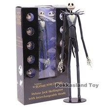 악몽 전에 크리스마스 디럭스 잭 Skellington 교환 머리 액션 피규어 소장 모델 장난감 선물 35cm