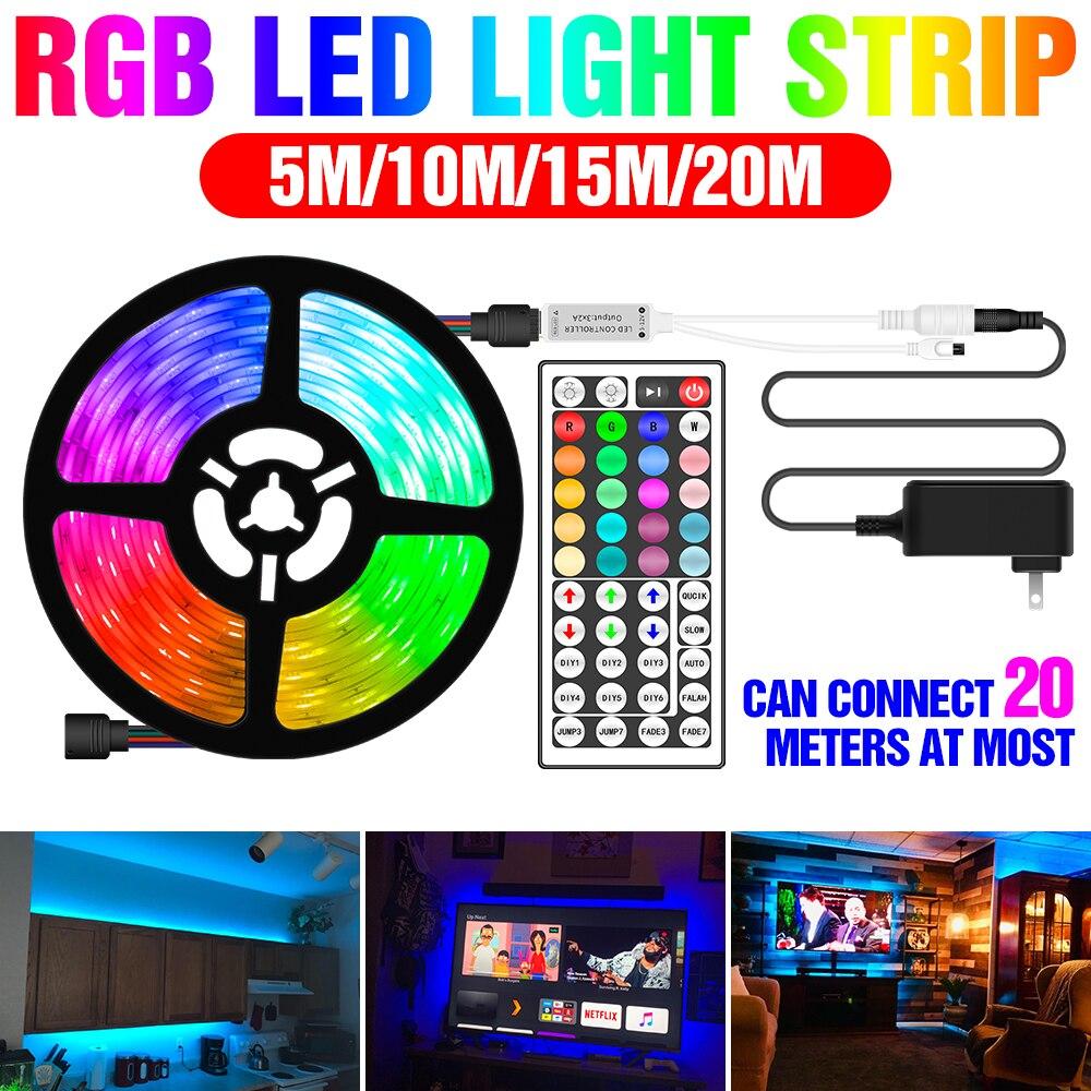 Rampe déclairage à LED RGB 5050 SMD ruban Flexible étanche Fita LED RGB lampe 5M 10M 15M 20M ruban DC 12V télécommande + adaptateur