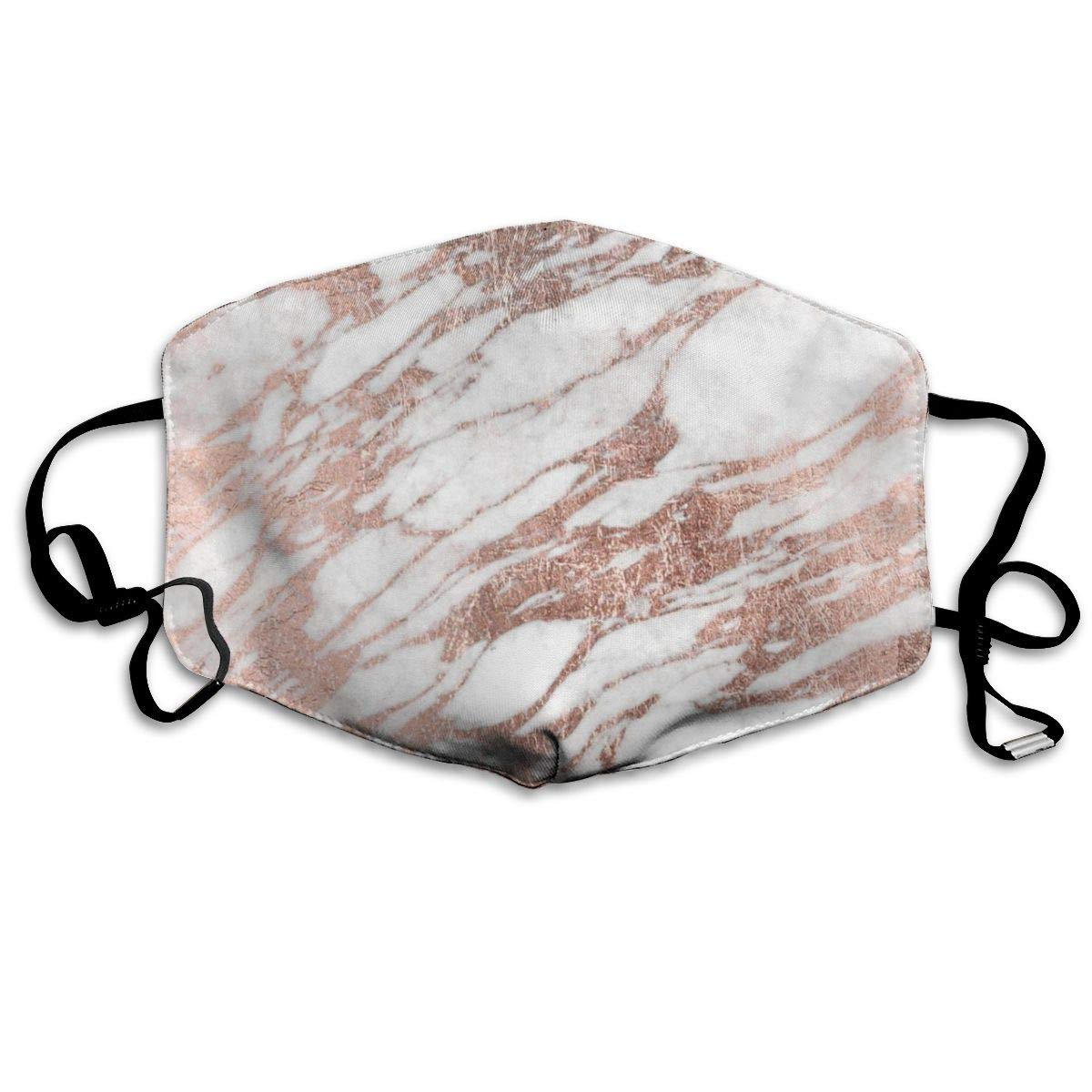 Mouth Mask   & Healthy Fashion Face Cover Masks, Stone Chic Elegant White Pink Rose Gold Marble Modern Polyester Comfortable