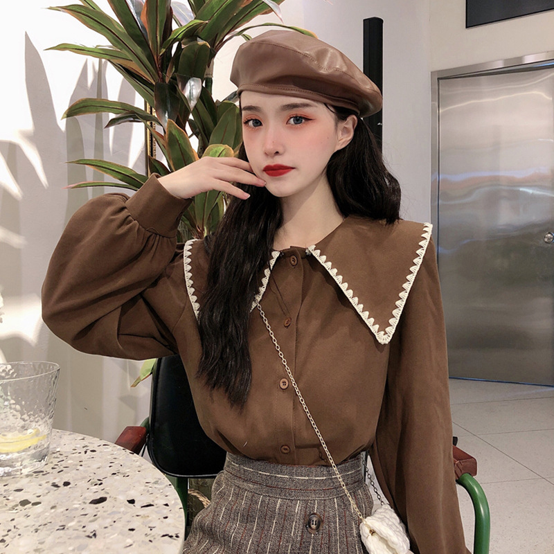 Autumn And Winter 2019 New Korean French Retro Thickened Baby Collar Shirt Women's Design Sense Small Long Sleeve Shirt