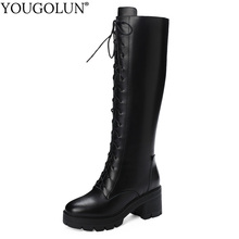 Genuine Leather Knee High Boots Women Winter High Square Heels Shoes A376 Woman Round Toe Lace Up Black Zipper Platform Boots nemaone fashion women s lace up knee high boots lady autumn winter high heels shoes woman platform yellow black white high boots
