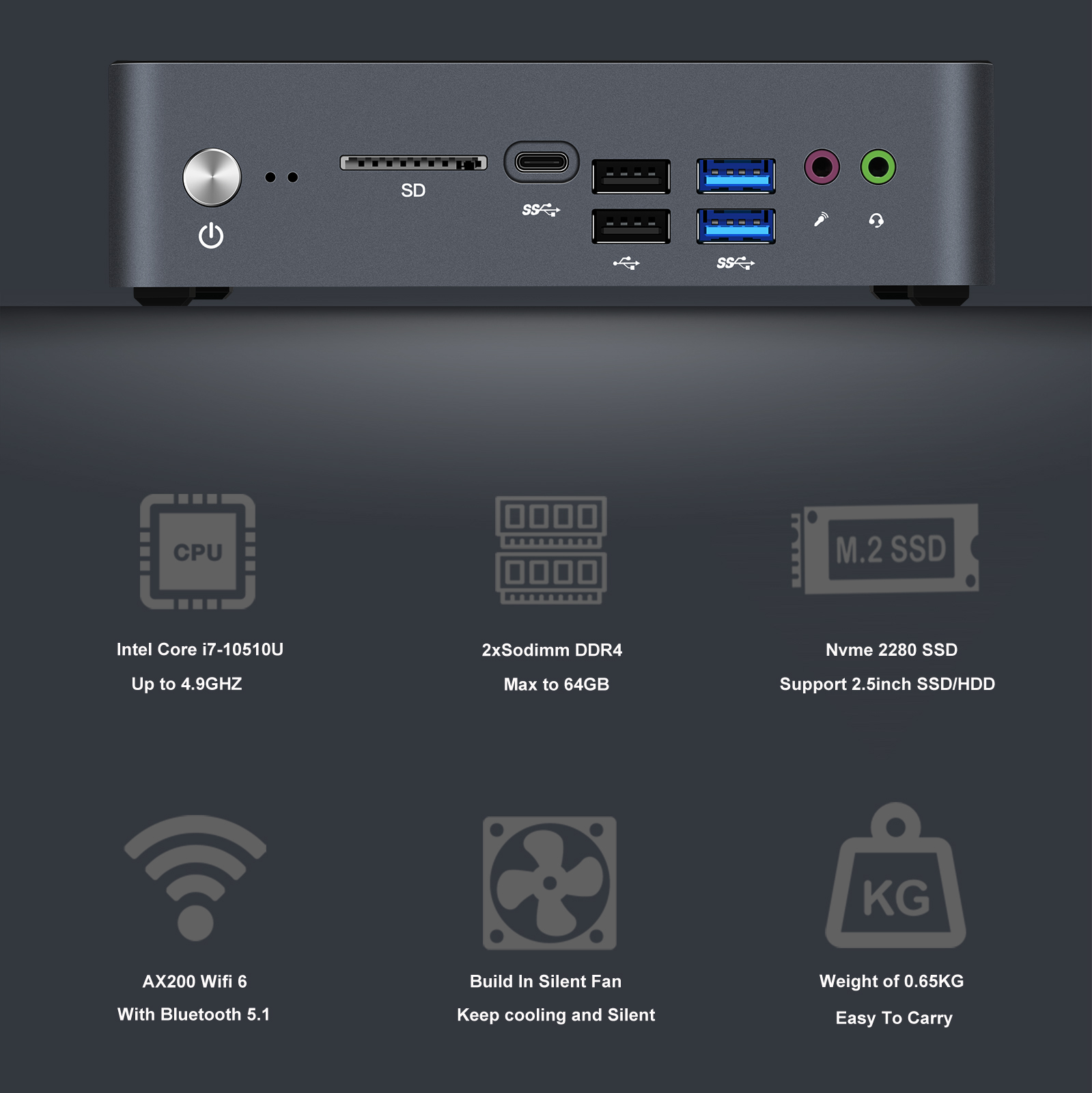 Chatreey mini pc KC10 intel 10th core i5 10210u i7 10510u windows 10 pro  DDR4 desktop gaming  computer Nvme SSD 2