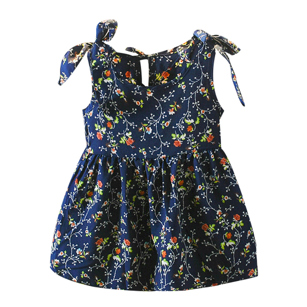 Blue Sleeveless Floral Cotton O-Neck Dress