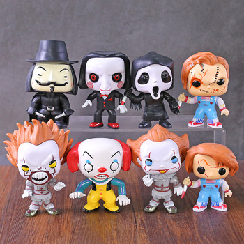 Horror Movie Characters Chucky Pennywise Billy Death V for Vendetta PVC Figures Q Version Toys 8pcs/set
