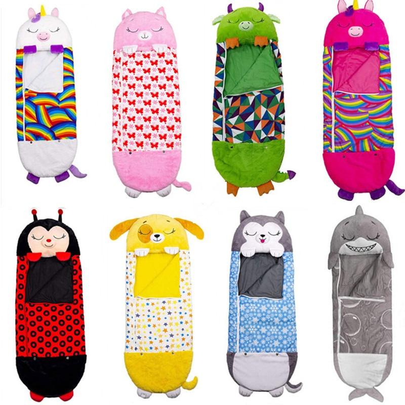 Children's Cartoon Sleep Sack For Birthday Gift Kids Sleeping Bag Plush Doll Pillow Baby Boys Girls Warm Soft Lazy Sleepsacks