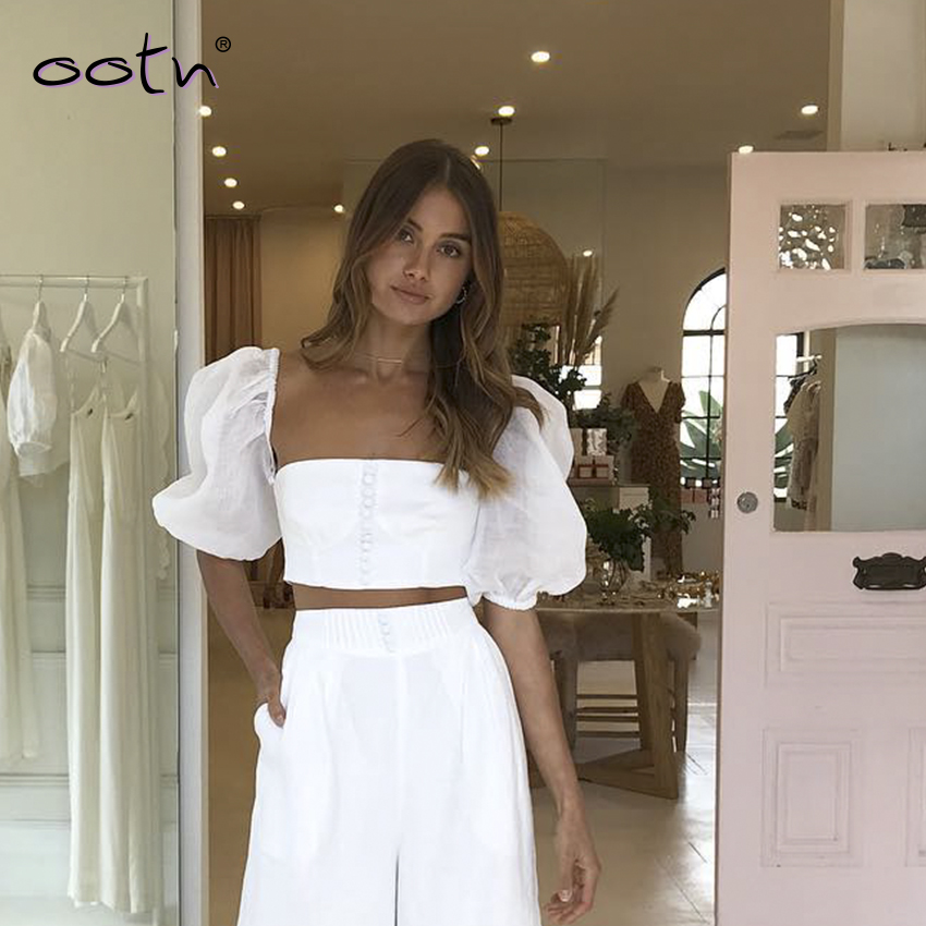 OOTN White Puff Sleeve Crop Top Women Blouse Split Sleeve Single Breasted Square Collar Shirt Streetwear Women Tops Summer 2019
