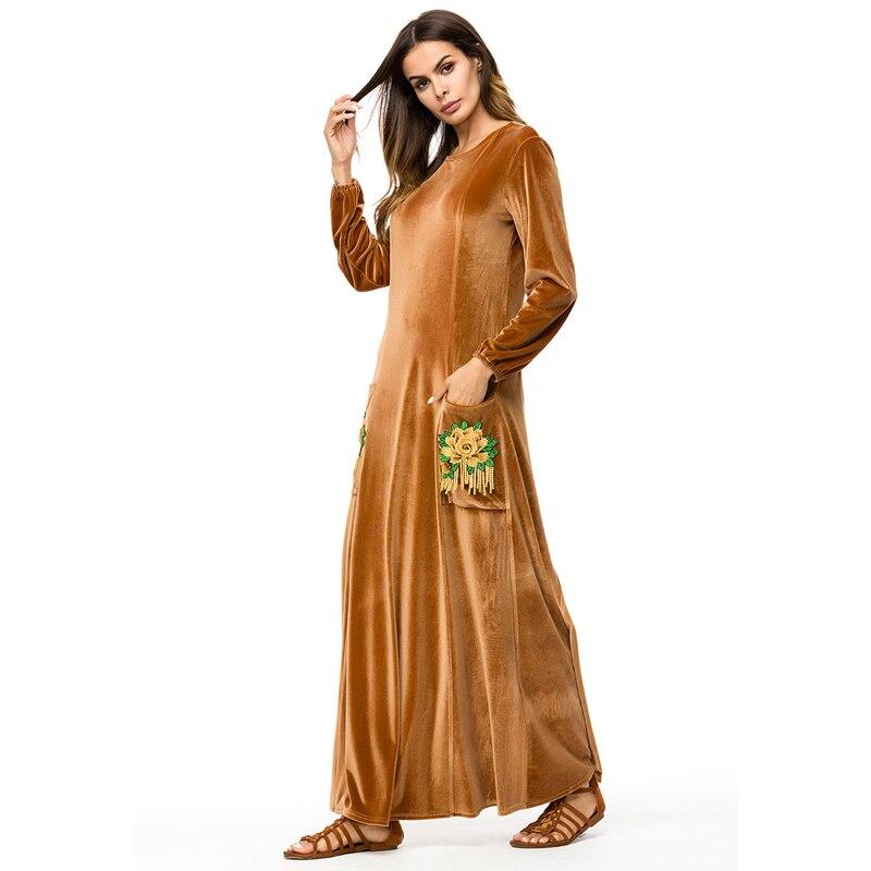 Velvet abaya Muslim Kaftan Maxi Dress with Pockets  Women Embroided Elegant Long Sleeve Turkish Islamic clothing