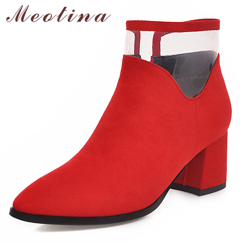 Meotina Winter Ankle Boots Women Transparent Thick High Heel Zipper Pointed Toe Red Bridal Shoes Lady Autumn Size 46