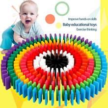 12 farben 120 stücke Mischen Dominosteine kinder Bausteine Große Domino kinder Frühe Bildung Holz Pädagogisches Spielzeug