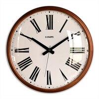 Moderno grande relógio de parede do vintage madeira maciça retro silencioso sala estar quarto escritório relógios parede duvar saati presente fz117