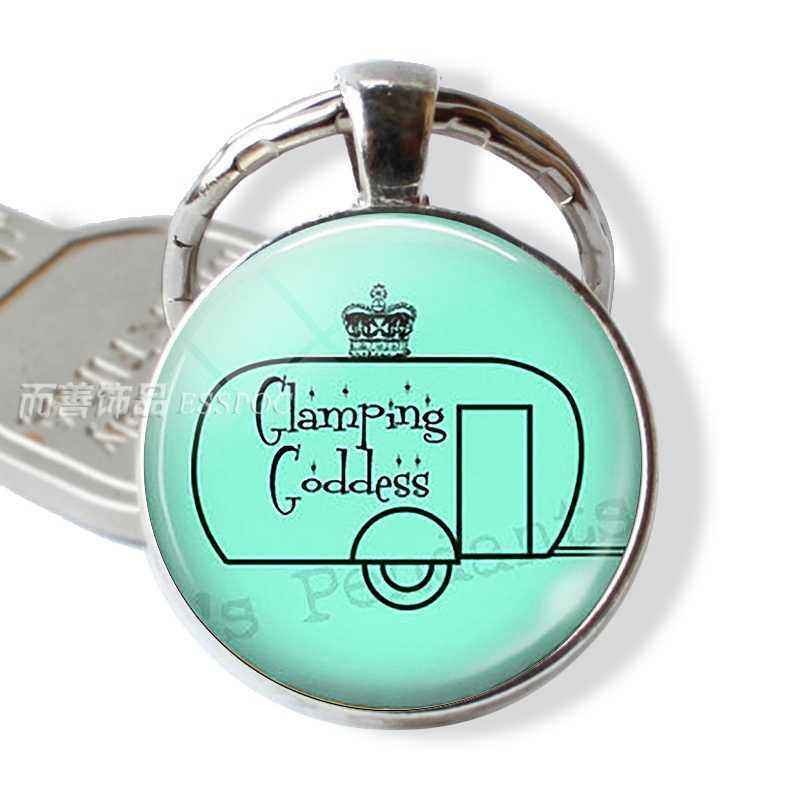 Porta-chaves do carro de viagem anel de vidro cabochão cúpula jóias pingente de prata metal chaveiro presente das mulheres dos homens