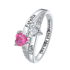 Image 4 - SG Personalized 925 Sterling Silver Rings Custom Heart Birthstone Ring With 2 Names Jewelry for Her Mother days Gift