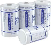 Lot de 4 batteries rechargeables de type C, 1.2V, 4000mAh, NI-MH, nimh, ni mh, haute capacité