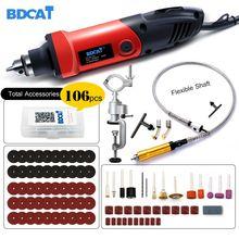 Bdcat mini broca gravador rotativo 400w, ferramenta 6 moedor de ângulo de velocidade variável, ferramenta com eixo flexível, acessórios dremel