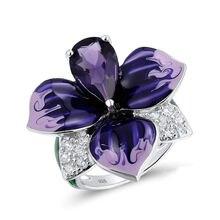 Роскошные массивные дизайнерские кольца с фиолетовыми эмалированными