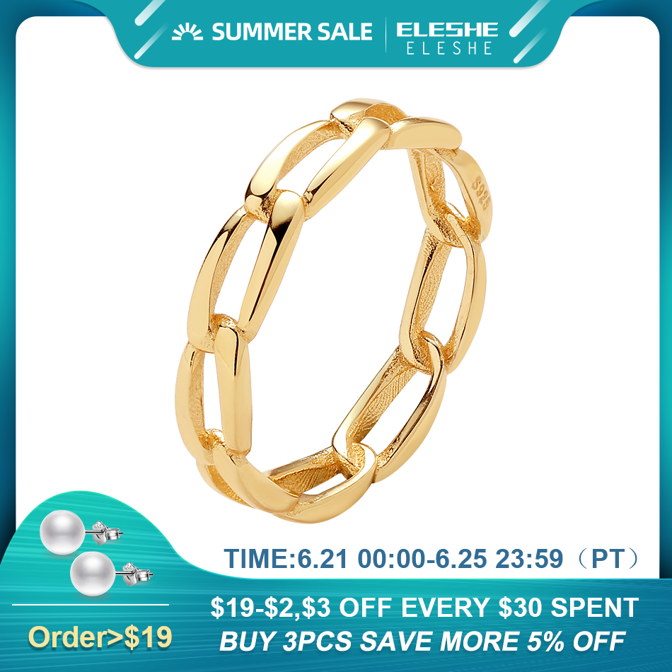 ELESHE Pure 925 Sterling Silver Fine Rings with 18K Gold Plated Chunky Chain Simple Ring for Women Wedding Party Jewelry Gift