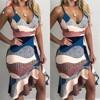 Vestido diseño de retales trompeta para mujer