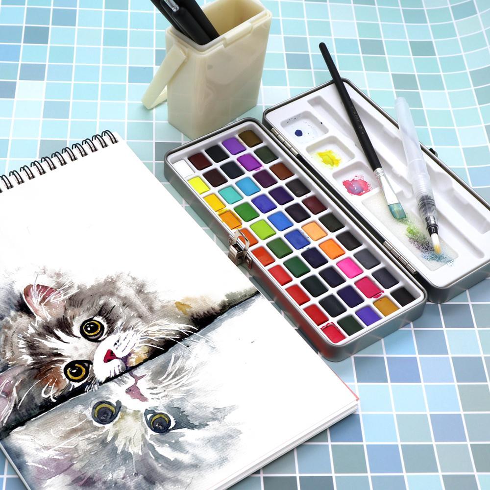 SeamiArt, 50/72/90 цветов, однотонные акварельные краски в наборе, Набор цветных красок, портативная металлическая коробка, пигмент цвета воды для начинающих, рисование, водные цветные бумажные принадлежности 6