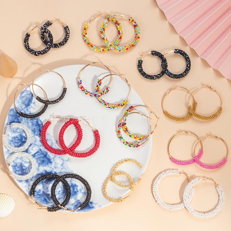 BICUX New Bohemian Ethnic Hoop Beaded Earrings Circle Earrings For Women Trendy...