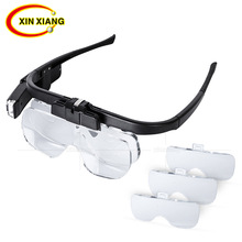 Lithium Battery Glasses Magnifier 4.5X Headband 2 LED Magnifier Rechargeable Magnifying Glass With LED Light 3 Glasses Len Loupe led light magnifier