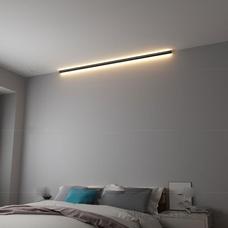 Canto moderno e minimalista conduziu a lâmpada de parede interior simples linha luz luminárias arandelas parede da escada quarto cabeceira iluminação para casa decoração - 5