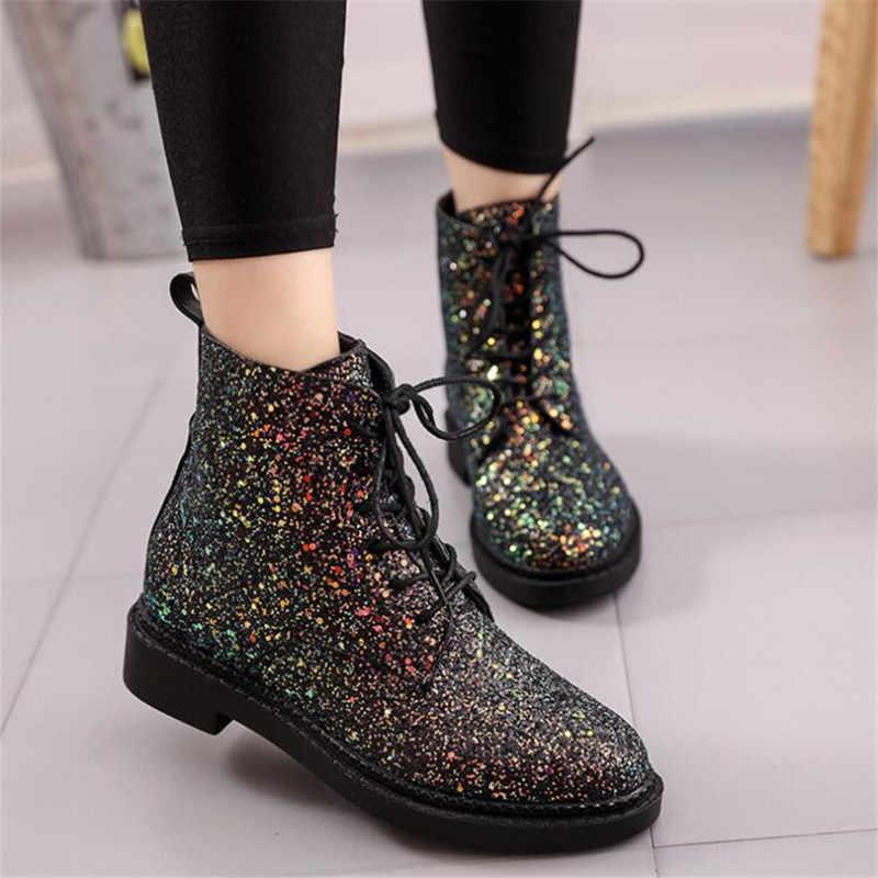Tasarımcılar Marka Kadınlar yarım çizmeler Topuklu kadın ayakkabısı Kadın Sonbahar Glitter Lace up Çizmeler Rahat Bling Pembe Siyah Beyaz