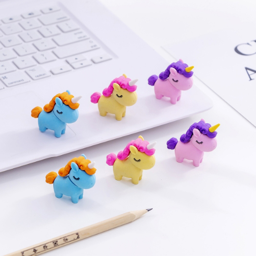 3Pcs/lot Kawaii Fat Unicorn Eraser  Modified Eraser Cute Cartoon Creative Detachable Pencil Office Children's Toys Gifts