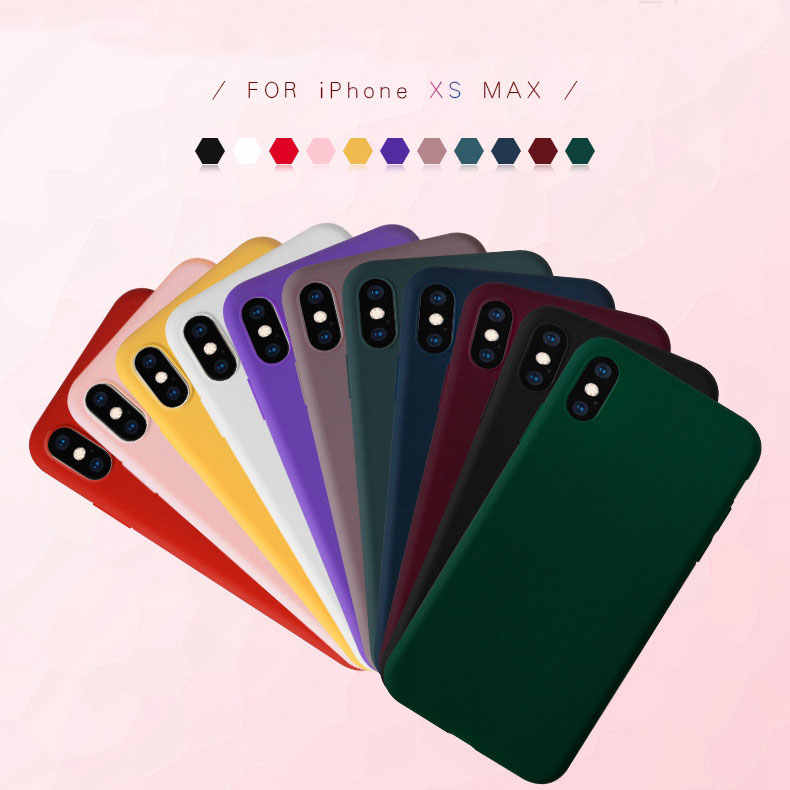 Funda de silicona para iPhone xs max caso cubierta de Color sólido para iPhone 11 pro X XR XS MAX 7 7 6 6S Plus Simple TPU Coque