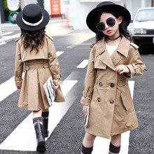 Teenage Trench Coats For Girls Windbreaker Autumn Long Khaki Coats Children Clot