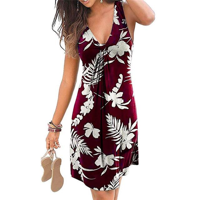 4XL 5XL Plus Size Dresses Women 2021 Sexy Summer Beach Short Dress Casual Sleeveless Deep V-Neck Ladies Folk Floral Print Dress 5