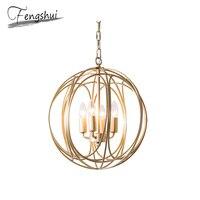 American LED Iron Glass Pendant Lights Lighting Golden Pendant Lamp Dining Living Room Bedroom Foyer Loft Decor Hanging Lamp