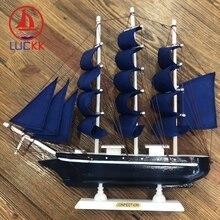 LUCKK 33CM Mediterrean Style Wooden Figurine Dark Blue Ship Model Miniature Marine Sailing Boat Decor Desk Wood Crafts Ornaments