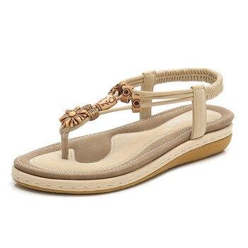 -kobiety sandały modne klapki damskie buty kryształ kwiatowy sandały damskie 2020 letnie buty na płaskiej podeszwie czeski plaża фото