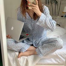 Пижамный комплект для женщин; Хлопковая пижама с длинными рукавами