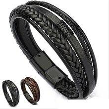 Мужской кожаный браслет кожаные браслеты для мужчин Магнитная застежка Воловья Кожа плетеная многослойная обёртка браслет мужской pulseras para hombre