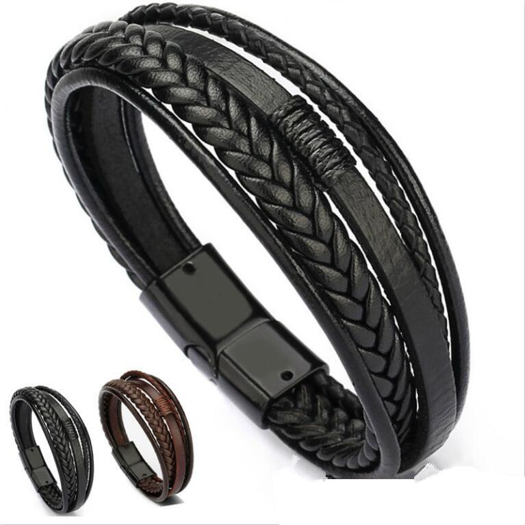 Mens leather bracelet Leather bangles for men Magnetic-Clasp Cowhide Braided Multi Layer Wrap Bracelet man pulseras para hombre