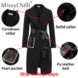 Image 4 - Missychilli黒puレザーベルト長袖の女性のエレガントな真珠の女性コート生き抜く秋冬セクシーなトレンチブレンドコート