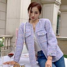 Women tweed jackets 2020 fashion office ladies o-neck coats female autumn vintag