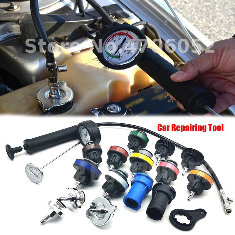 Car Universal 18pcs Radiator Leak Detector Car Cooling System Tester Auto Repairing Pressure Gauge Kit Car Repairing Tool