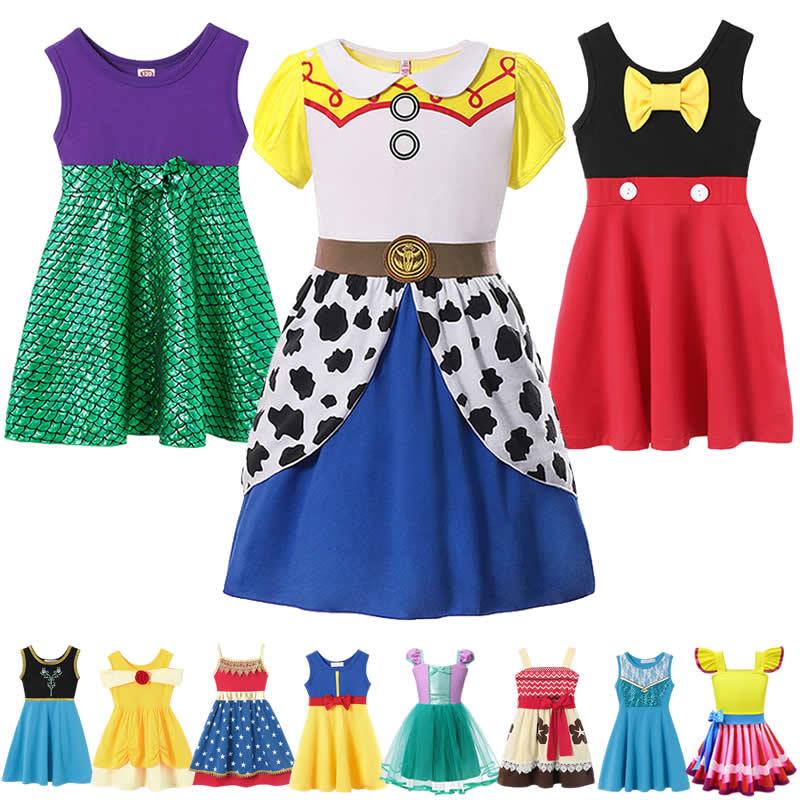 Girls Toys Story 4 Woody Dress Mickey Costumes Fancy Belle Sets Nancy Minnie Robe Princess Moana Snow White Elsa Anna Clothes
