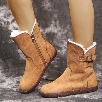 Ladies Velvet Snow Boots Zipper Plush Warm Shoes Fashion Non-slip Large Size Ankle Boots 2021 Plus Velvet Thick Warm Short Shoes tanie i dobre opinie NoEnName_Null Płaskie z BUTY NA ŚNIEG flokowane CN (pochodzenie) Zima Podręczne Stałe Women Boots Adult Krótki plusz