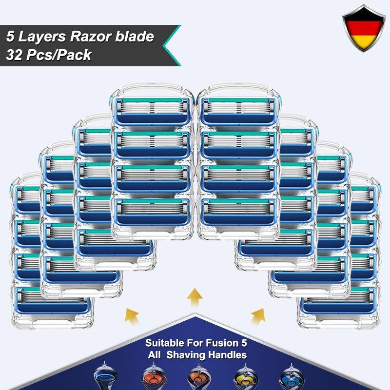 5-слойные Безопасные лезвия для бритвы, сменные головки для Gillette Fusion 5 Proglide Proshield, прямые лезвия для бритья, насадки для бритвы