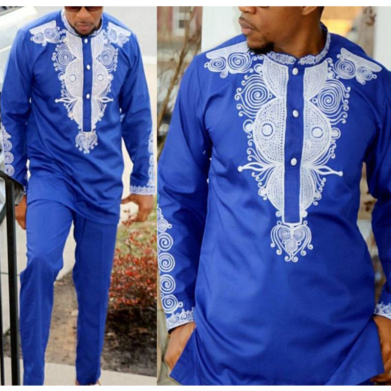 H&D Dashiki Mens Top Pant 2 Pieces Outfit Set African Men Clothes 2021 Riche African Clothing For Men Dashiki Shirt With Trouser