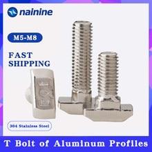 [M5 m6 m8] t cabeça de martelo t parafuso de alumínio conector t parafusos de cabeça para 20/30/40/45 perfis de alumínio b051