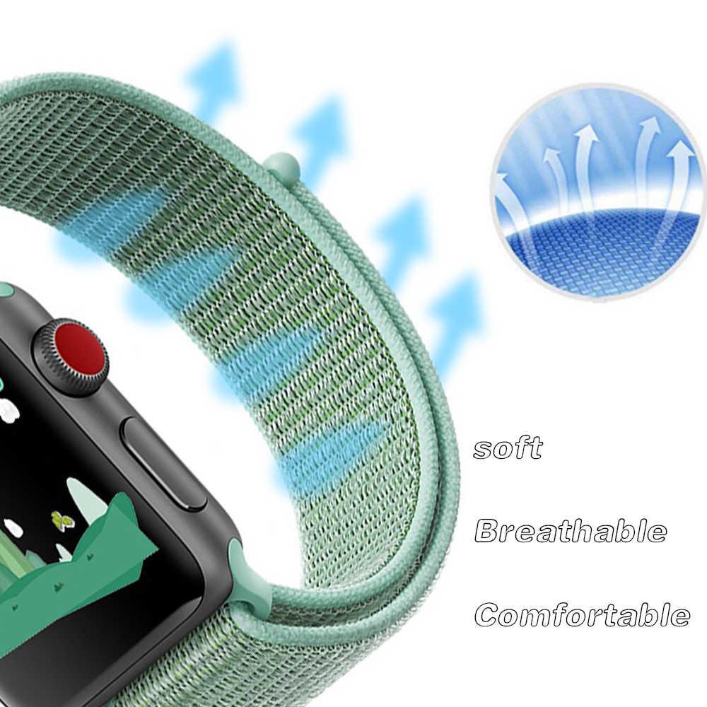 Di Nylon di Sport Loop Morbido per Iwatch Serie 4/5/3/2/1 Traspirante Sostituzione Del Cinturino di Vigilanza per Apple Watch Band 38 Mm/40 Mm/42 Mm/44 Mm