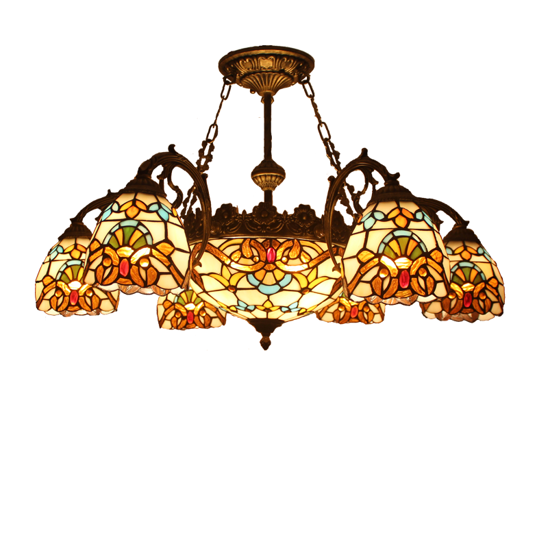Fumat Chandelier Tiffany Style Pendant Light Stained Glass Luster Shade Led Ceiling Lights Chandelier Kitchen Living Room Lamp Chandeliers Aliexpress