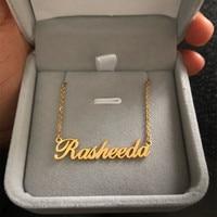 Acier inoxydable tour de cou personnalisé nom collier personnalisé bijoux hommes à la main plaque signalétique pendentif colliers femmes meilleur ami cadeau