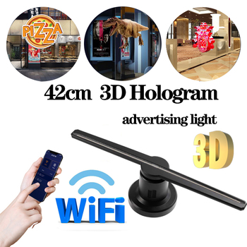Astor 3D holographic projector lamp advertising display LED fan holographic imaging lamp 3D WIFI remote holographic player image
