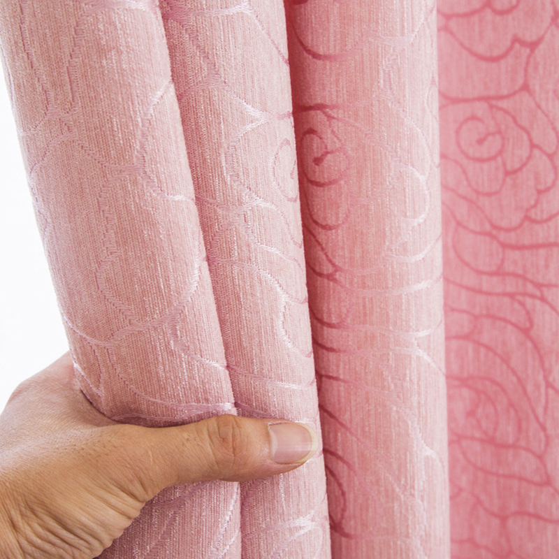 Solid Color Chenille Jacquard Double-sided Curtains Fabric For Living Room Bedroom Blackout Window Thick Curtain In Kitchen